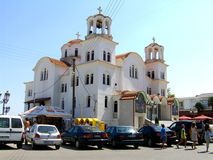 Orthodox greek church in Paralia Katerini, Greece stock photography