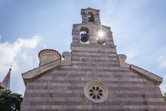 Church in Budva. Orthodox Holy Trinity Chuerch in historical part of Budva town, Montenegro Royalty Free Stock Photography