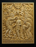 Orthodox icon carved from mammoth Tusk. Stock Photo