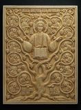 Orthodox icon carved from mammoth Tusk. Royalty Free Stock Photos