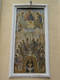 The Orthodox icon is a fresco on the wall of a Russian Orthodox Church. Royalty Free Stock Photos