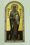 The Orthodox icon is a fresco on the wall of a Russian Orthodox Church. Royalty Free Stock Image