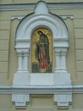 The Orthodox icon is a fresco on the wall of a Russian Orthodox Church. Stock Photo