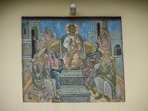 The Orthodox icon is a fresco on the wall of a Russian Orthodox Church. Stock Image