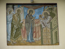 The Orthodox icon is a fresco on the wall of a Russian Orthodox Church. Royalty Free Stock Photography
