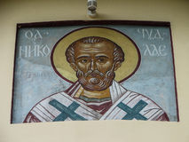 The Orthodox icon is a fresco on the wall of a Russian Orthodox Church. Stock Photos