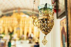 Orthodox icon lamp. Church attribute. Lampstand Church. Christianity and faith. Religious temple. Prayer and penance. Inside of the Church. Orthodoxy and Stock Photo