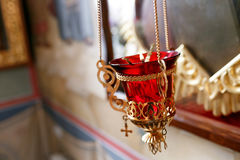 Orthodox icon lamp. Church oil. Church attribute. Royalty Free Stock Photo