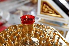 Orthodox icon lamp. Church oil. Church attribute. Stock Photos