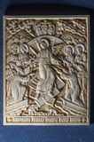 Orthodox icon of mammoth ivory handcrafted. Royalty Free Stock Photo