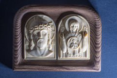 Orthodox icon of mammoth ivory handcrafted. Royalty Free Stock Photos