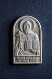 Orthodox icon of mammoth ivory handcrafted. Stock Photo