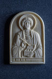 Orthodox icon of mammoth ivory handcrafted. Stock Image