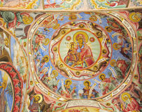 Orthodox icon painting. In the church on the walls and roof dome. Story and subject from the Bible. Religion, Angel, Maria, the Christ and God. Orthodox stock photos