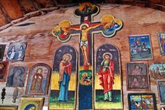 Icons. Orthodox icons and cross ine of the church in Romania Stock Photo