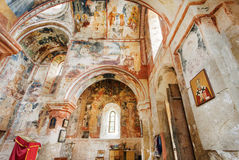 Orthodox icons and rustic fresco inside the historical monastery Gelati stock images