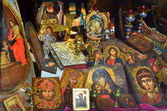 Orthodox icons shop Greece Royalty Free Stock Photography