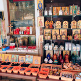 Orthodox icons and souvenirs Royalty Free Stock Photography