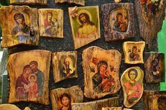 Icons on the tree. Orthodox icons on the tree royalty free stock images
