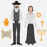 Orthodox jew, man and woman. Flat icon. Symbols of Judaism minora, david star, anchovy and scroll Stock Image