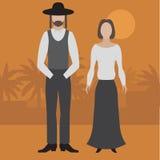 Orthodox jew, man and woman. Flat judaism traditonal religious character.  vector illustration