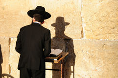 Orthodox jew. Religious orthodox jew praying at the Western wall in Jerusalem old city Stock Photos