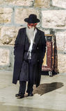 Orthodox jewish man prays at the Western Wall Royalty Free Stock Image