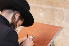 Orthodox Jewish Man at the Western Wall in Jerusalem Stock Photos