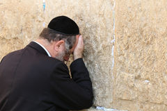 Orthodox Jewish Man at the Western Wall in Jerusalem Royalty Free Stock Photo