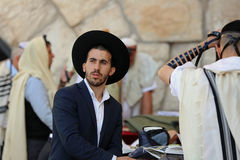 Orthodox Jewish Man at the Western Wall in Jerusalem Stock Photography