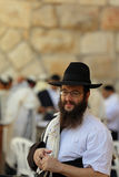 Orthodox Jewish Man at the Western Wall in Jerusalem Royalty Free Stock Photography