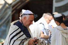 Orthodox Jewish Man at the Western Wall in Jerusalem Royalty Free Stock Photo