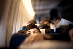 Orthodox Jewish man in Yarmulke on airplane Stock Photo