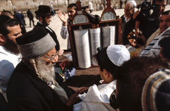 Orthodox jewish men pray at the Western Wall Stock Image