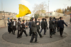 Orthodox jews dance in the streets of jerusalem Stock Images