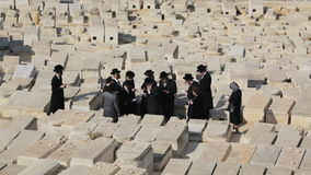 Orthodox Jews praying among graves on the Mount of Olives cemetery. stock video