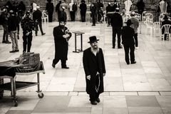 Orthodox Jews at Western Wall in Jerusalem Royalty Free Stock Photos
