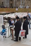 Orthodox Jews at Western Wall in Jerusalem Royalty Free Stock Photo