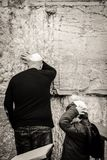 Orthodox Jews at Western Wall in Jerusalem Stock Photography