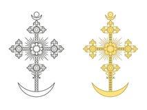 Orthodox kruis met een halve maan Royalty-vrije Stock Afbeelding