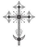 Orthodox kruisbeeld, één van de variaties, gewoonlijk is geïnstalleerd op de kerkkoepel Royalty-vrije Stock Foto