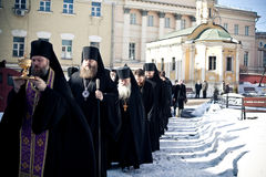 Orthodox liturgy with bishop Royalty Free Stock Photography