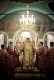 Orthodox liturgy with bishop. MOSCOW - MARCH 14: Orthodox liturgy with bishop Mercury in High Monastery of St Peter in Moscow on March 14, 2010 in Moscow Stock Photo