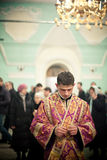 Orthodox liturgy with bishop. MOSCOW - MARCH 14: Orthodox liturgy with bishop Mercury in High Monastery of St Peter in Moscow on March 14, 2010 in Moscow Stock Images