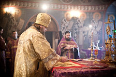 Orthodox liturgy with bishop. MOSCOW - MARCH 14: Orthodox liturgy with bishop Mercury in High Monastery of St Peter in Moscow on March 14, 2010 in Moscow Stock Photography