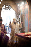 Orthodox liturgy with bishop. MOSCOW - MARCH 14: Orthodox liturgy with bishop Mercury in High Monastery of St Peter in Moscow on March 14, 2010 in Moscow Royalty Free Stock Image