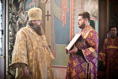 Orthodox liturgy with bishop. MOSCOW - MARCH 14: Orthodox liturgy with bishop Mercury in High Monastery of St Peter in Moscow on March 14, 2010 in Moscow Stock Image