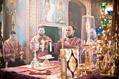 Orthodox liturgy with bishop Stock Image