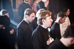 Orthodox liturgy with bishop Stock Photo