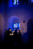 Orthodox liturgy with bishop Mercury in Moscow. MOSCOW - MARCH 13: The choir sings while the light is turning off during the Orthodox liturgy with bishop Mercury Stock Photos